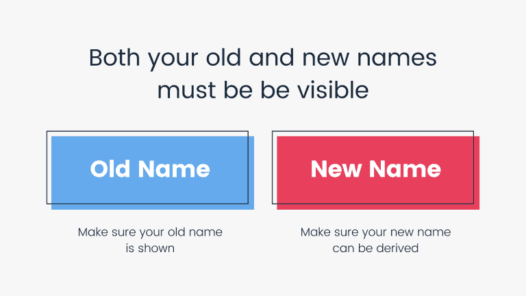 Both your old and new names must be visible