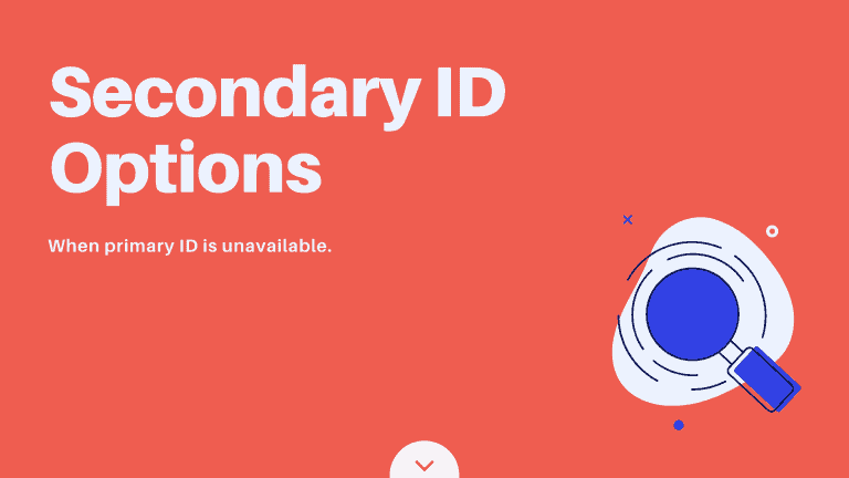 Secondary ID options, when primary ID is unavailable