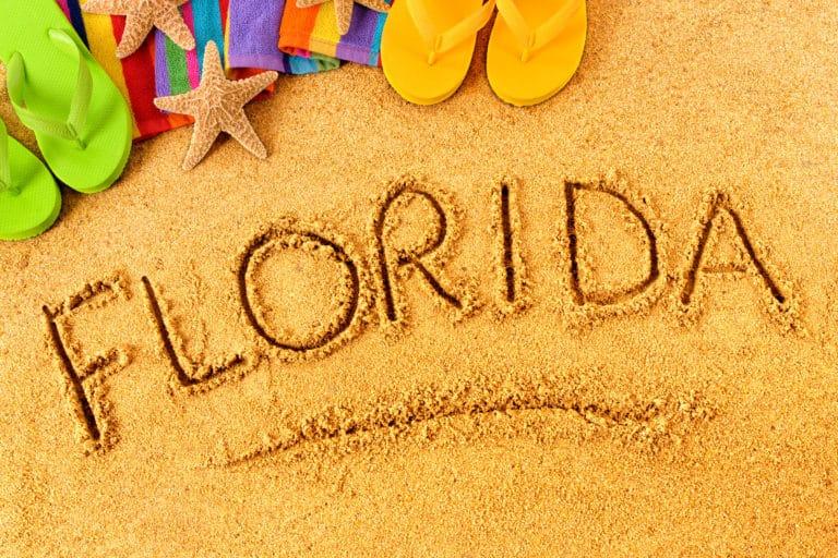 Florida Written in Beach Sand
