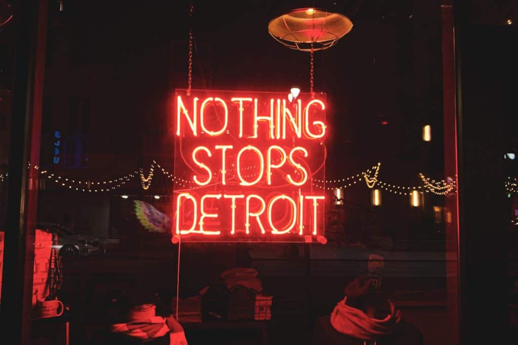 Nothing Stops Detroit Michigan Neon Sign