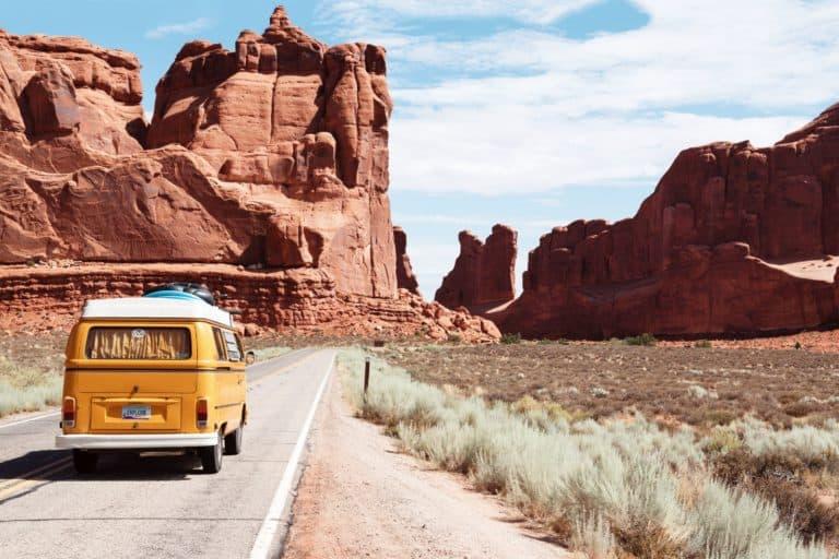 Van Driving Through Grand Canyon, Arizona