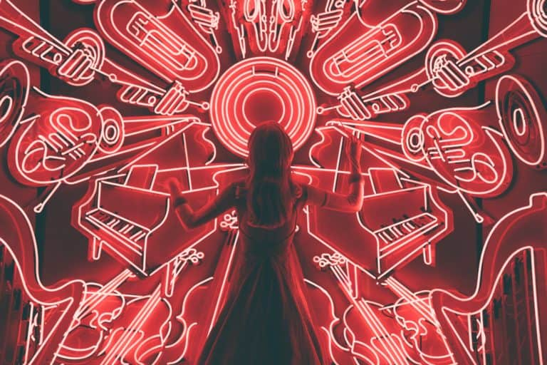 Woman Conducting Neon Orchestra